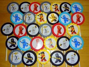 30 Ninjago Cupcake Toppers Birthday Party Favors Supply