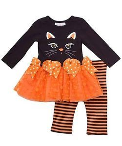 New Baby Girls RARE Editions Sz 12M Black Cat Tutu Halloween Set Dress Clothes