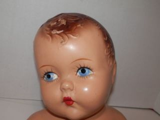 Fabulous Vintage Child Infant Mannequin Head Bust Molded Hair Painted Face