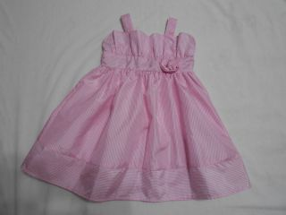 Infant Toddler Girls Pink White Striped Spring Summer Easter Dress Size 18 Month