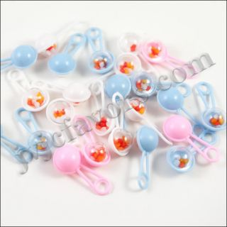 48 Pcs Mini Rattles Baby Shower Favor Assorted Colors Decor Party Decorations