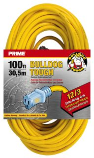 Prime Wire 100ft 12 3 Contractor Power Extension Cord w Indicator Light