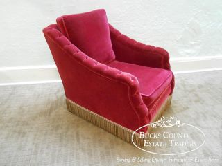 Antique 1920s Art Deco Tufted Red Mohair Lounge Chair