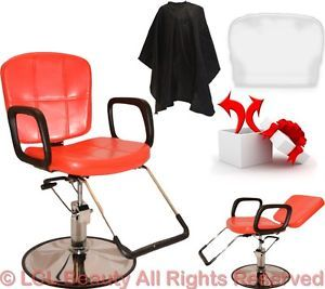 New Red Reclining Hydraulic Styling Barber Chair Shampoo Hair Salon Equipment