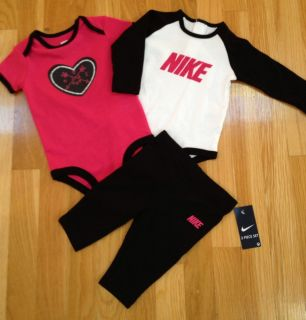 Nike Newborn Baby Girl Infant 3 Piece Set Outfit 0 3M $48 00 New