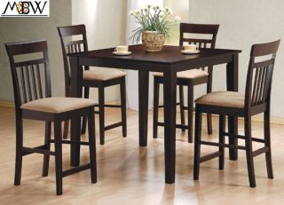 5 Piece Set Cappuccino Counter Height Table w Chairs
