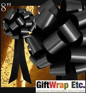 10 Black Pull Bows Gift Pew Table Chair Wreath Decorations Wedding Memorial