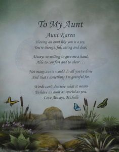 To My Aunt Personalized Poem Birthday or Christmas Gift Secret Garden Print Card