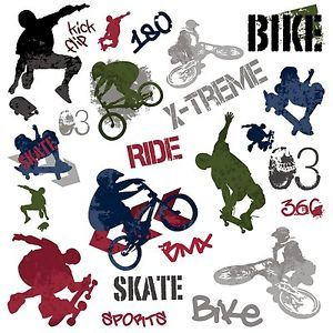 Extreme Sports 25 Big Wall Stickers BMX Skate Room Decor Decals Skateboard Boys