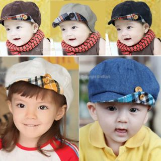 Toddler Child Baby Girls Boys Princess Corduroy Beret Basebal Hat Stripe Sun Cap
