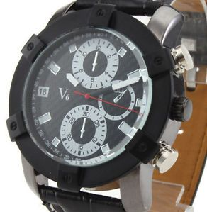 Extreme Big Dial Sport Style Men Wrist Watch Black PU Leather Analog Sharp Hand