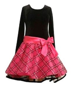 Bonnie Jean Toddler Girls Black Velvet Organza Flocked Holiday Party Dress 2T