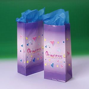 12 Princess Paper Bags Kid Girl Party Goody Loot Filler Treat Gift Favors Supply