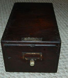 Antique VINTAGE1 Drawer Wood File Box Filing Cabinet Library Index Card Holder