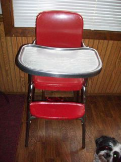 Vintage Cosco Metal Chrome High Chair Stool Red w Vinyl Seat 50s w SS Tray