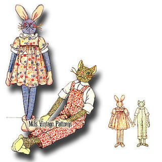 1930s Vintage Long Legged Bunny Cat Stuffed Animals in Clothes Pattern