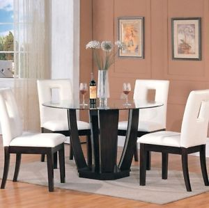 5pcs Round Glass Top Dining Table Chair Set Modern Furniture AM1003010035 White