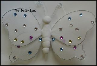 "8"" White Gem Nylon Butterfly Wall Hanging Nursery Girl Room Decoration Wedding"