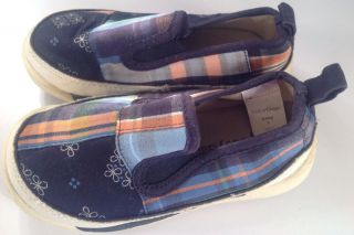 Baby Gap Girls Canvas Slip on Boat Shoes Loafers Size 5 Plaid Super Cute