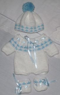 Hand Knitted Baby Reborn Doll Romper Hat and Booties Set 12 13 inch B