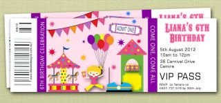 Personalised Ticket Style Circus Carnival Birthday Invitations
