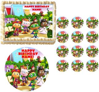 Super Why Characters Party Edible Cake Topper Frosting Sheet Image All Sizes