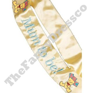 Mum to Be Mom to Be Embroided Sash Baby Shower Boy Girl Teddy Bear Baby Shower