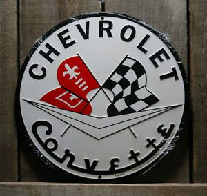 Metal Chevrolet Corvette with Racing Flags Tin Sign Garage Car Signs