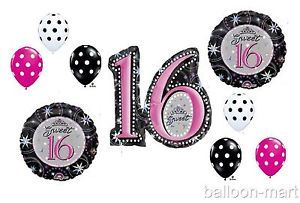 Sweet Sixteen Balloons Party Supplies Decorations Polka Dots Black Pink 16th New