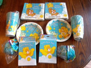 RARE Care Bears Baby Shower Plates and Napkins Also Have Invites Streamer and CU