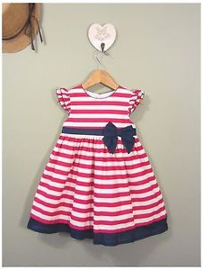Girls Clothes Toddler Kids Sailor Red White Stripe Blue Bow Party Dress Size 4