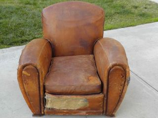 French Art Deco Leather Club Chair All Original Condition Gentlemen Lounge