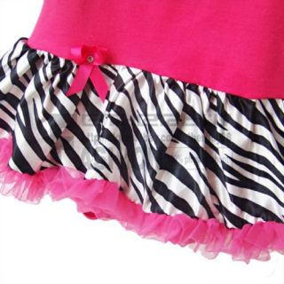 2pcs Newborn Baby Girl Headband R Omper Dress Clothes Outfit Hot Pink Zebra 6 9M
