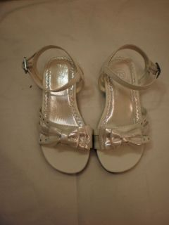 Girls Toddler TKS Buckle Strap Dress Shoes White Size 8M Non Marking Soles