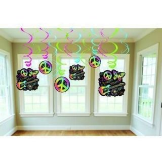 Funky Neon Hippie Rainbow Peace Sign Swirls Party Decorations 12 Pieces New