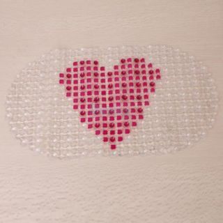 Oval Big Heart Pattern PVC Bathroom Floor Kitchen Non Slip Mat Foot Massage Pad