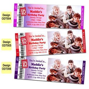 One Direction Personalized Ticket Style Birthday Party Invite