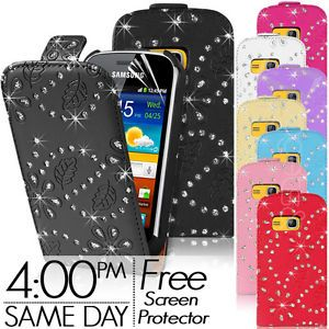 Diamond Leather Flip Case for Samsung Galaxy Mini 2 S6500 Free Screen Protector
