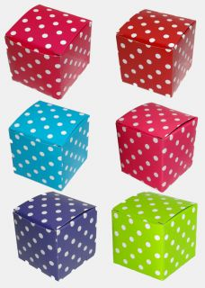 "2"" Cube Wedding Baby Bridal Shower Favor Party Treat Gift Boxes Polka Dots 10x"
