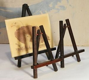 Table Top Easels Wood Dark Stain Picture Frame Print Holder Display Stand Lot 3