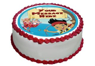 "N314 Edible Icing Image Birthday 8"" Round Cake Topper Jake Neverland Pirates"