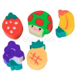 50 Mini Lovely Fruit Mushroom Shaped Rubber Erasers Kid