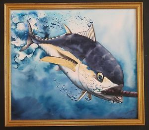 Kevin Pack California Deep Sea Fishing Tuna Wildlife Game Lure Realism Painting