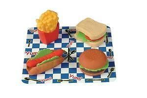 6 Fast Food Scented Shaped Erasers Party Favors Burger Fries Hot Dog Sandwich