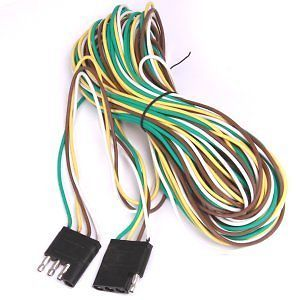 "20 ft 240"" 4 Pin Way Wire Flat Trailer Light Extension Cord Plug"
