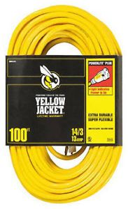 Coleman Cable 2888 Yellow Jacket 100' 13A 14 3 Heavy Duty Extension Cord