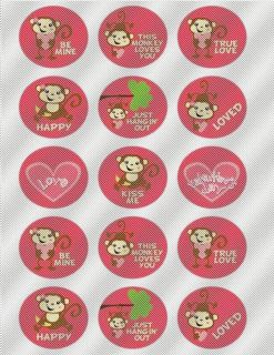 A342 Edible Icing Image Birthday Decal Cake Cookie Cupcake Topper Love Monkeys