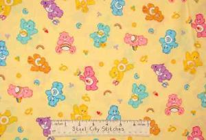 Care Bears Rainbow Pink Hearts Stars Yellow Blue Puprle Green Cotton Fabric Yard