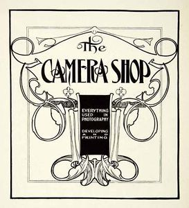 1937 Print Design Camera Shop Chicago Art Nouveau Scroll Graphic Frank Atkinson