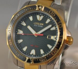New Mens Citizen Eco Drive BN0034 53W Diver 300 Two Tone Green Wave Dial Watch